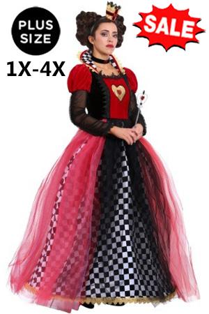 1X-4X Plus Ravishing Queen of Hearts Costume