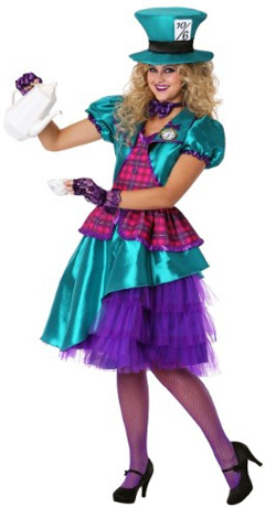 Plus Size Teal Hatter Costume for women